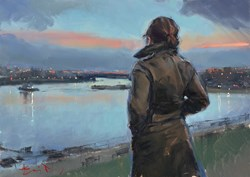 Harbour Watch (study) by Kevin Day - Original Painting on Stretched Canvas sized 14x10 inches. Available from Whitewall Galleries